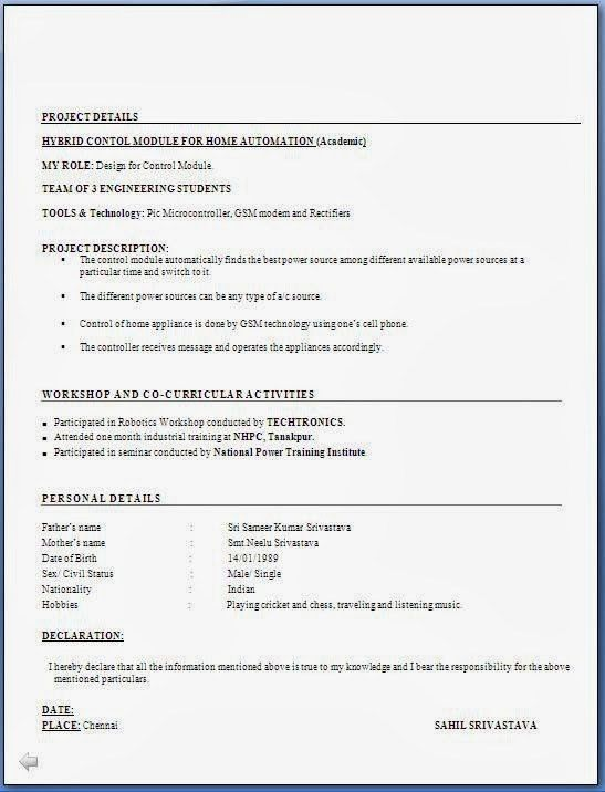 Captivating Civil Engineering Fresher Resume Format 20 With ...