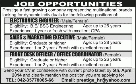 Electronics Engineering, Sales & Marketing Executive and Front ...