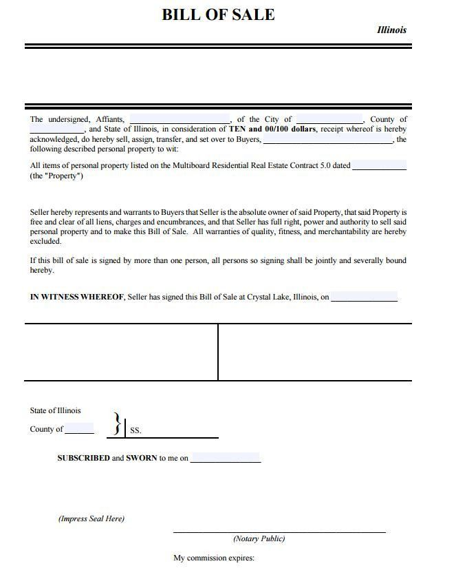 Free Illinois Personal Property Bill of Sale Form | PDF Template ...
