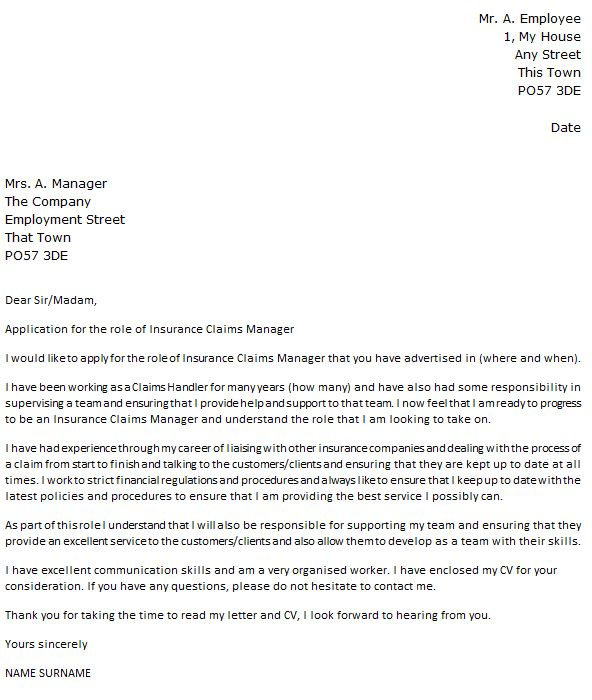 Insurance Claims Manager Cover Letter Example - icover.org.uk