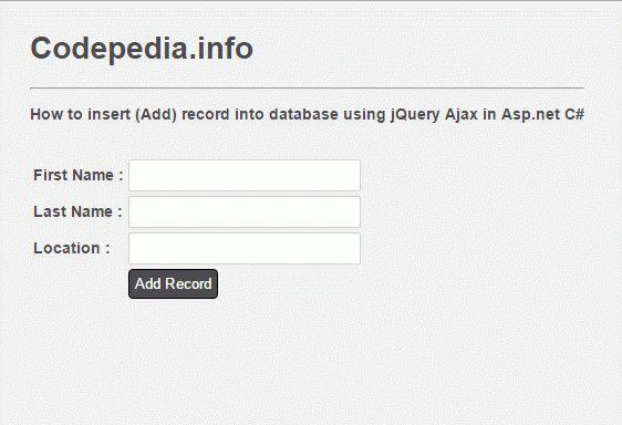 Insert Data Using jQuery Ajax in Asp.net C# [Database MS SQLServer ...