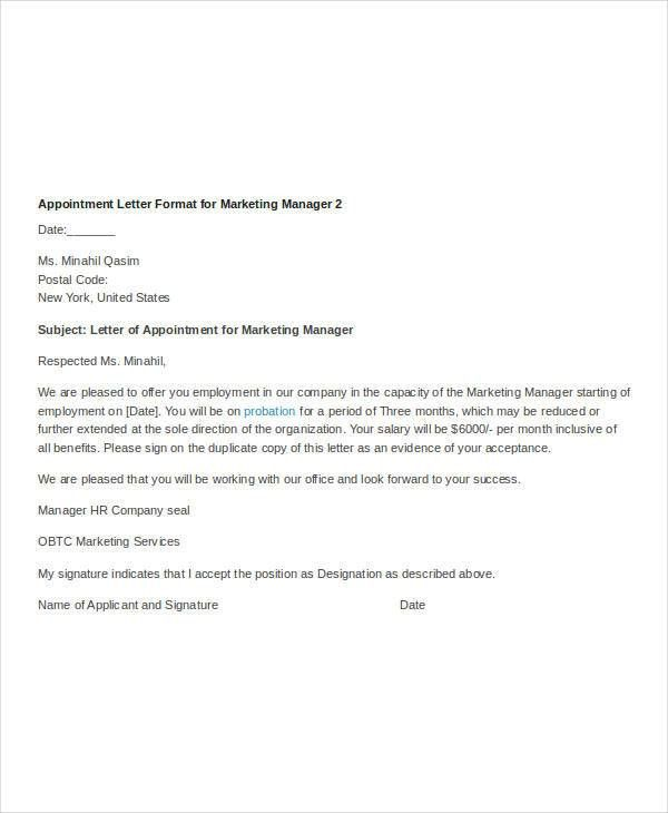 Free appointment Letters - 36+ Free Word, PDF Documents Download ...