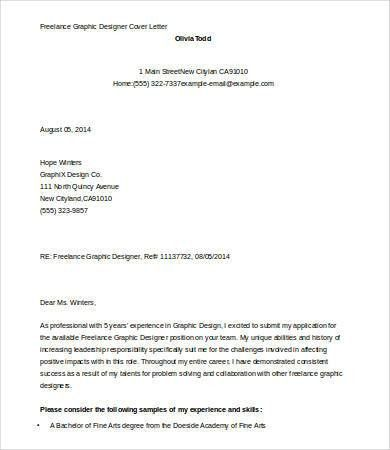 Graphic Designer Cover Letter Template - 5+ Free Word, Documents ...