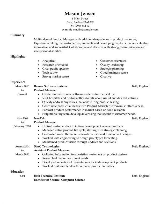 Example Of Personal Resume. Template Fascinating Product Marketing ...
