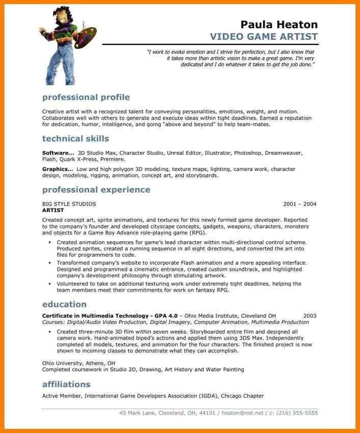 3d Modeling Artist Resume - Contegri.com