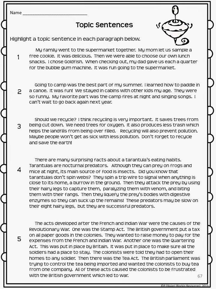 paragraph essay worksheet