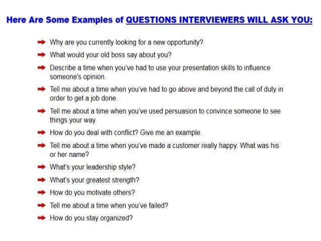 Preparing for job interview questions