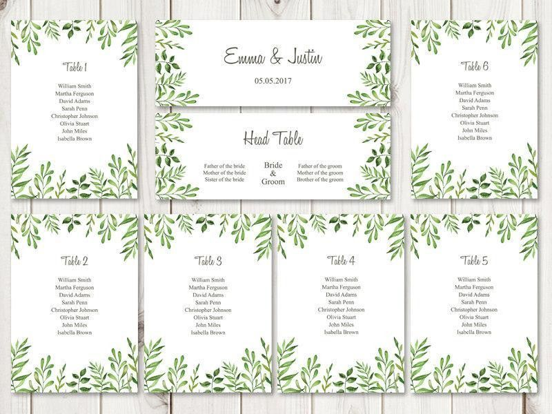 "Watercolor Wedding Seating Chart Template ""Lovely Leaves"", Green ..."