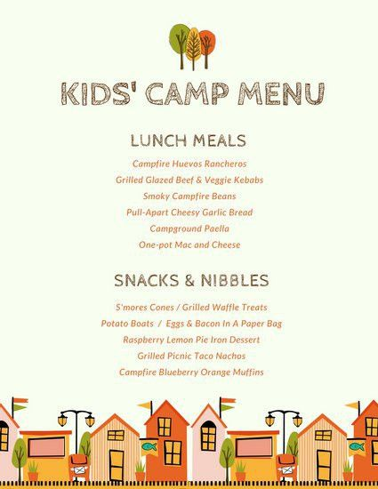 Cream Camping Illustrations Kids Menu - Templates by Canva