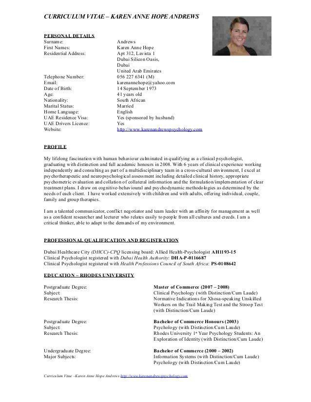 CV - Karen Andrews August 2015 Clinical