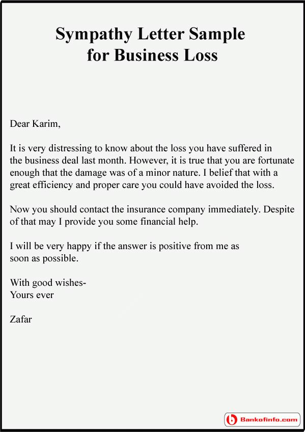 Example Of Condolence Letter | business letter template