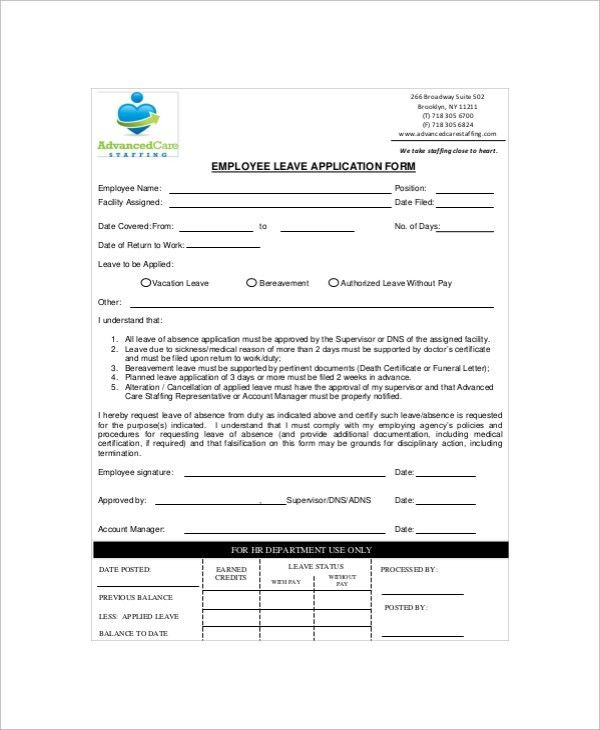 Sample Employment Application Form - 10+ Documents in PDF