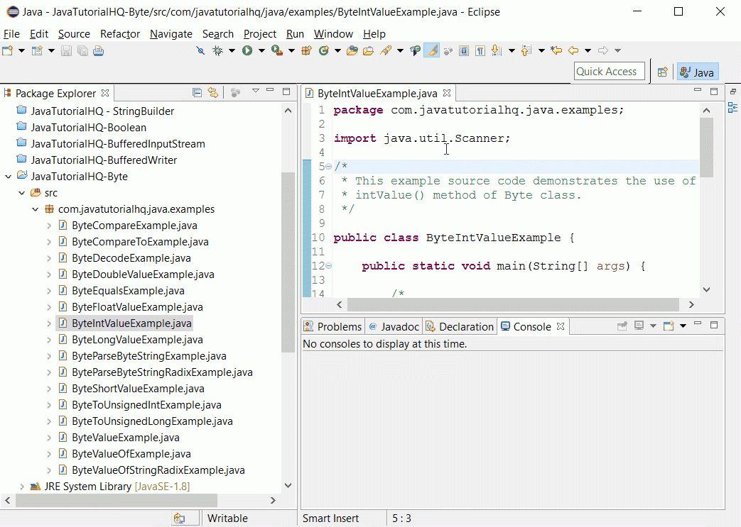 Java Byte intValue() method example