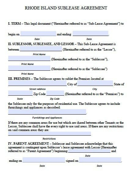 Free Rhode Island Sublease Agreement – PDF Template