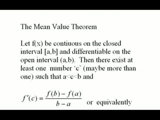The Mean-Value Theorem and Related Results Help Video in College ...