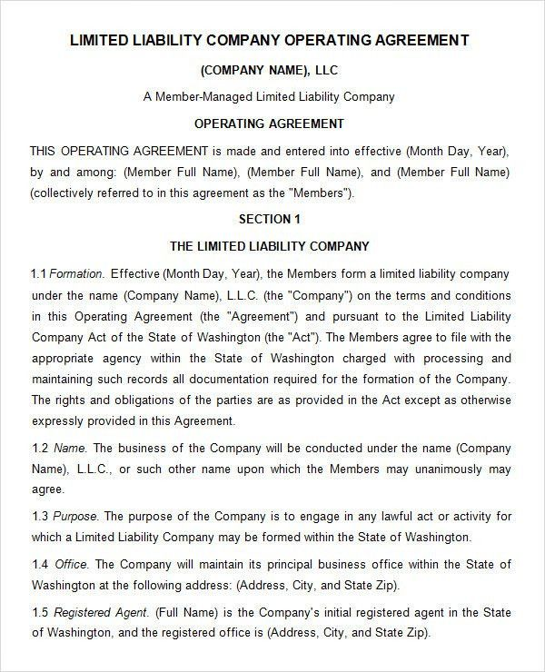 limited liability company operating agreement. llc operating ...