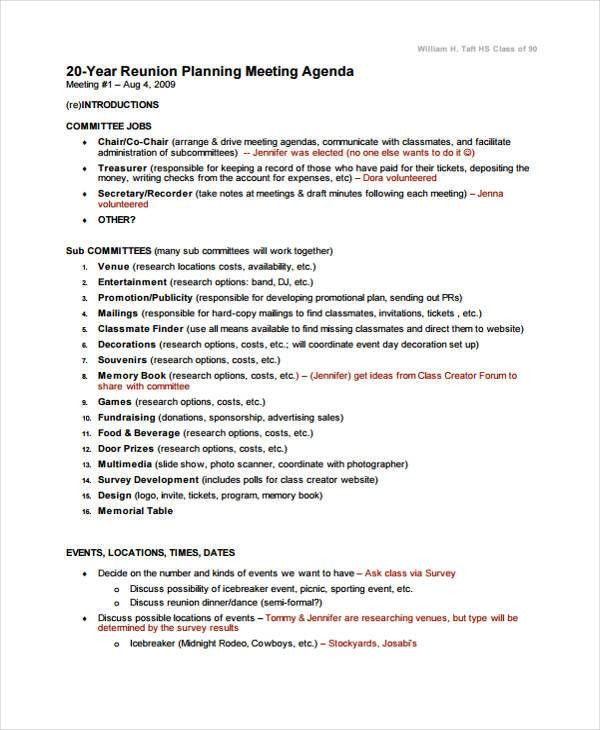 9+ Reunion Agenda Templates - Free Word, PDF Format Download ...