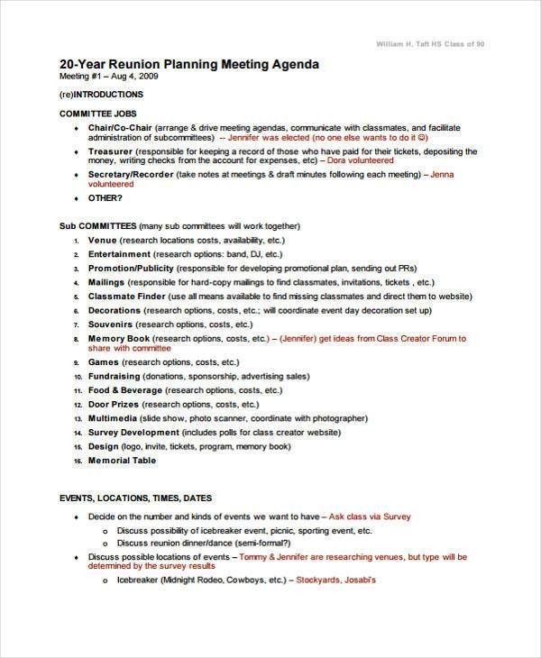 9+ Reunion Agenda Templates - Free Word, PDF Format Download ...
