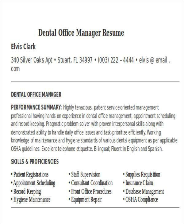 Dental Office Manager Resume | haadyaooverbayresort.com