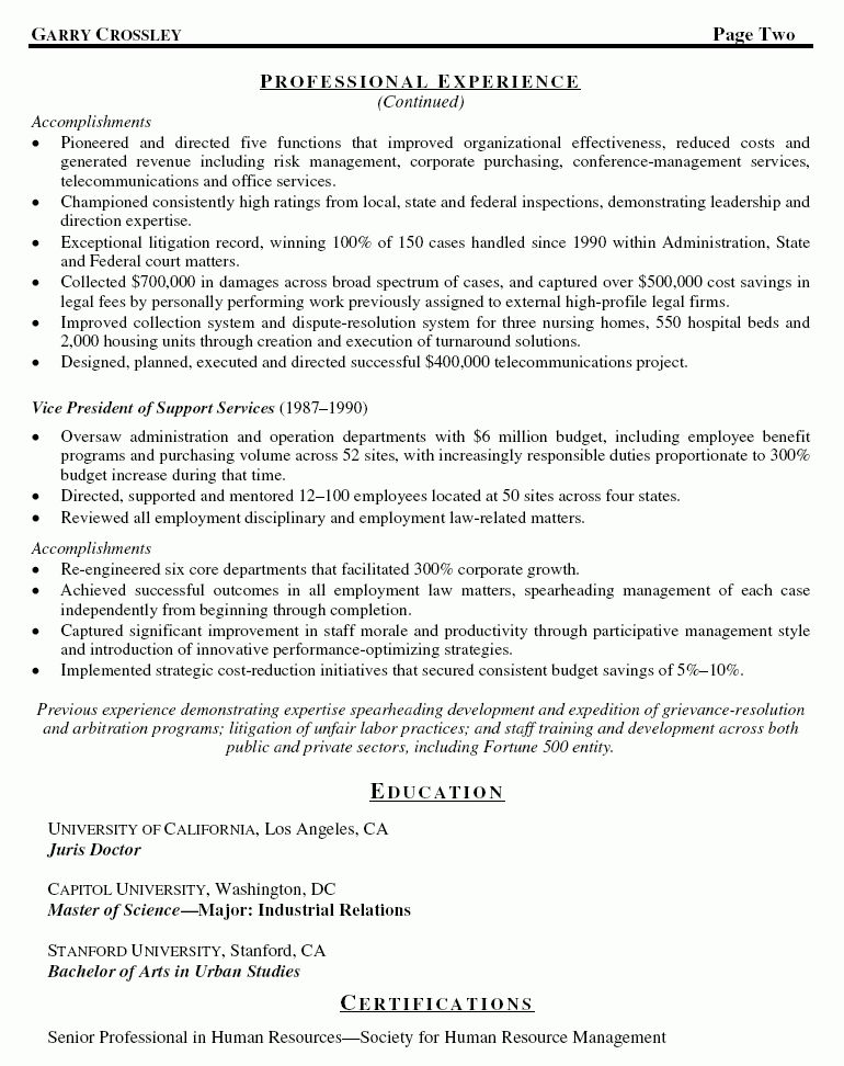 Sample Resume Associate General Counsel - Templates