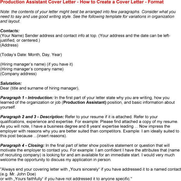 production assistant cover letter sample for Production Assistant ...