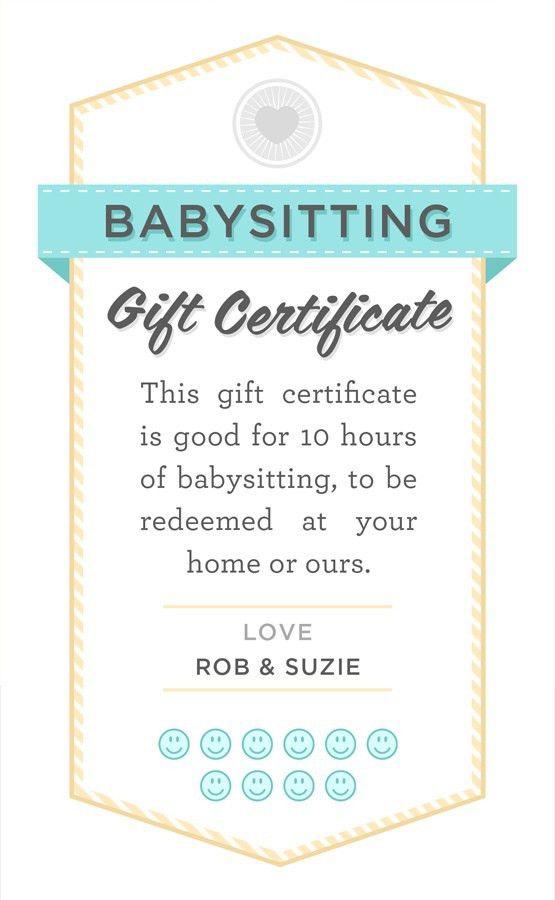 babysitter date night printable | Babysitting gift certificate ...