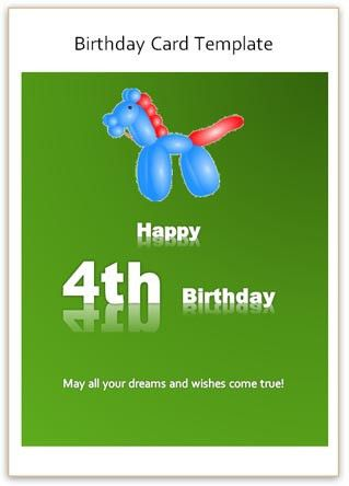 4th Birthday Card Word Template - Free Greetings Card