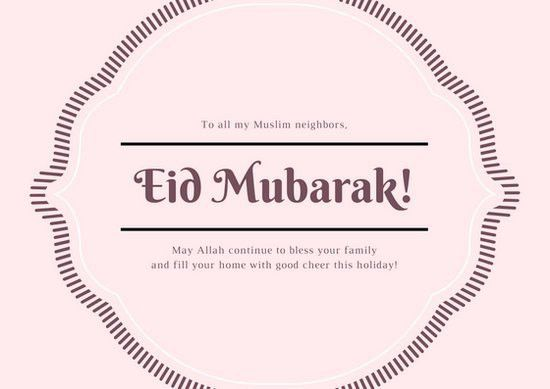 Pink Simple Eid al-Fitr Card - Templates by Canva
