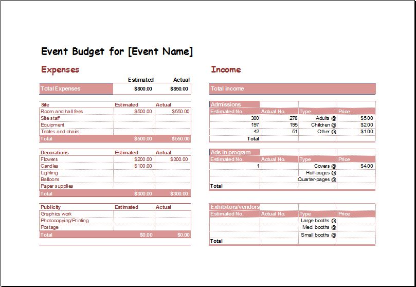 Event Budget Planning Spreadsheet Template | Document Hub