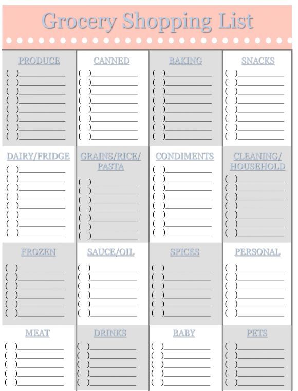 Grocery Shopping List Template | Sweet Tea Proper