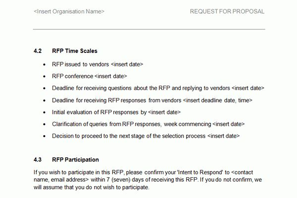 Screen shots of the HR RFI/RFP Template