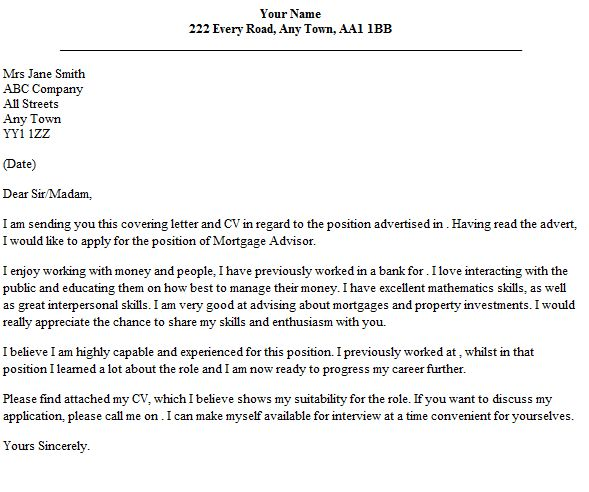Mortgage Advisor Cover Letter Example - lettercv.com