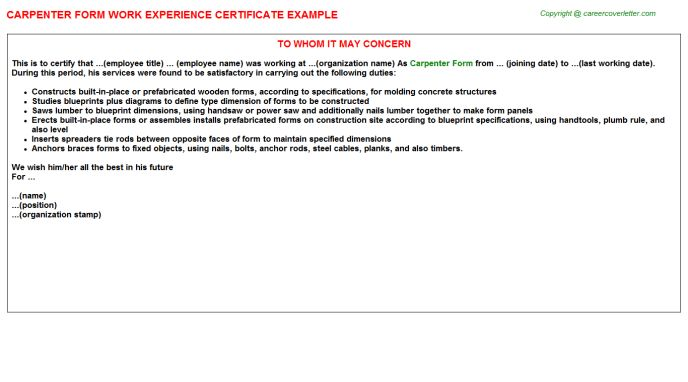 Carpenter Form Work Experience Certificate