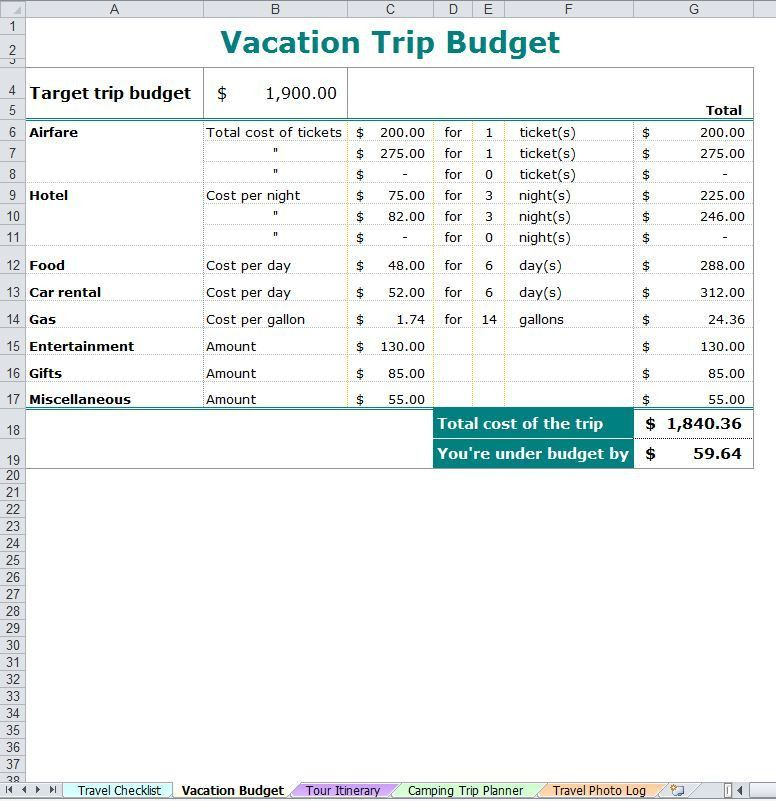 Vacation Trip Planner | Vacation Planner Template