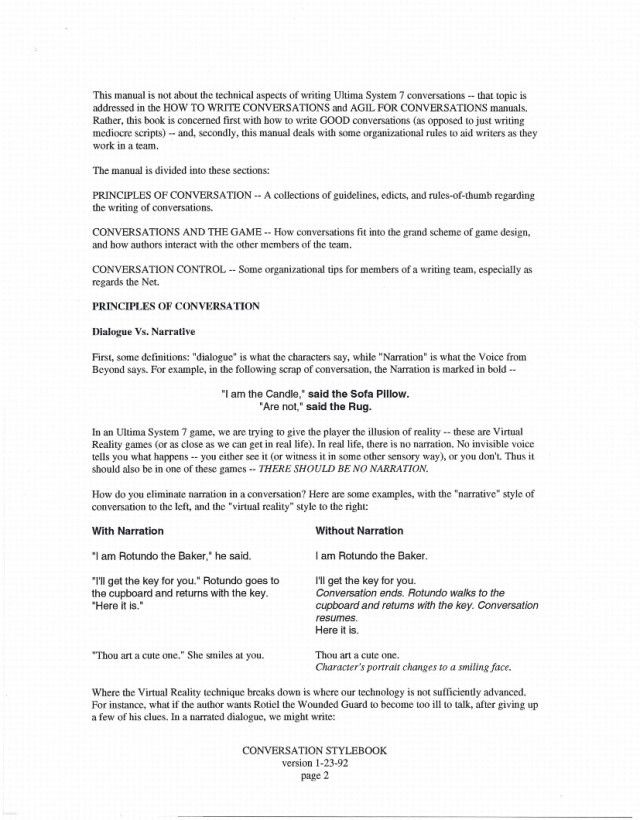 Ultima 7 Design Documents: Conversation Style Guide – The Origin ...