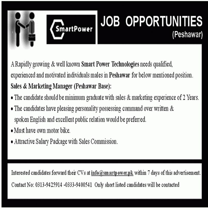 Sales & Marketing Manager Job vacancy available at Smart Power ...
