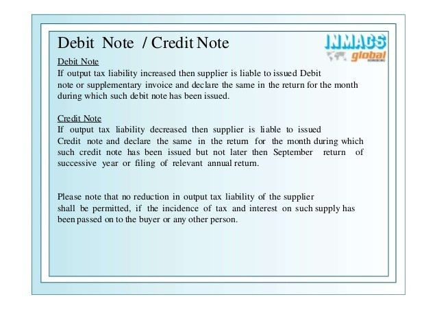 Debit note issued by supplier
