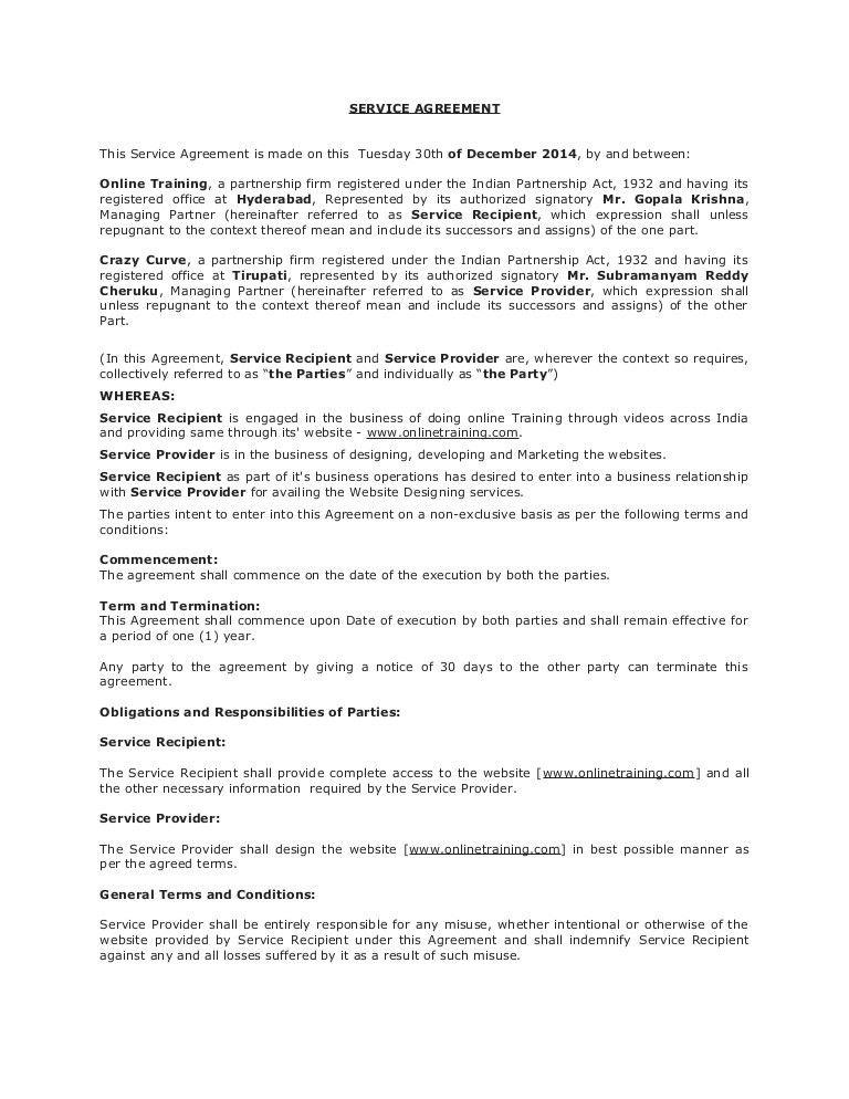Draft service agreement