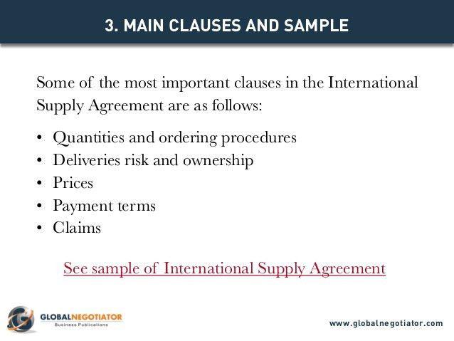 INTERNATIONAL SUPPLY AGREEMENT TEMPLATE