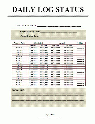 2+ Project Log Templates | Free Word Templates