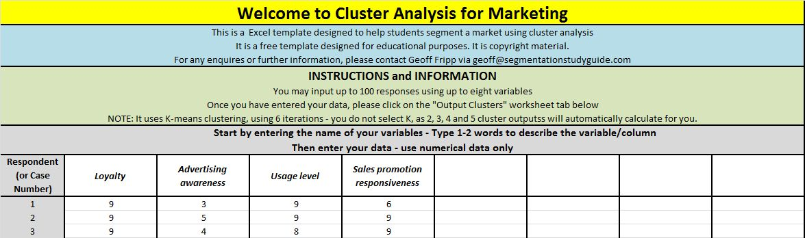 Guide to using the free template - Cluster Analysis 4 Marketing