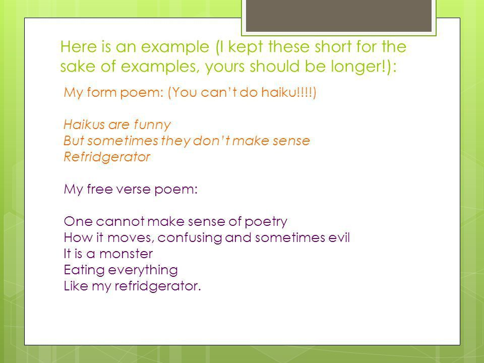 FORM vs. FREE VERSE Mrs. DiLauro. What is the difference between a ...