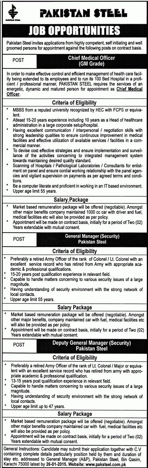 Medical Officer Job in Pakistan Steel General Manager Security