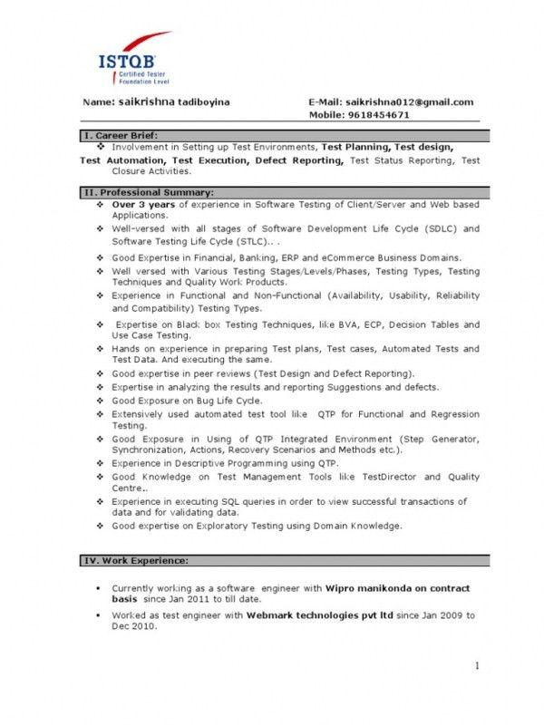 Software Testing Resume Samples For Freshers. qa tester video game ...