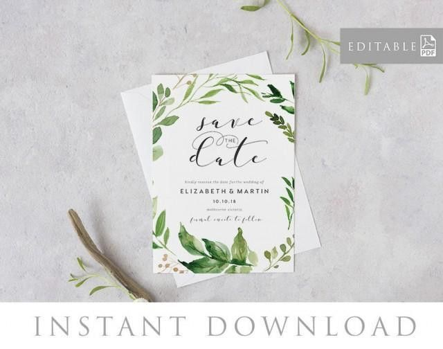 Save The Date Editable Pdf Template, INSTANT DOWNLOAD, Green ...