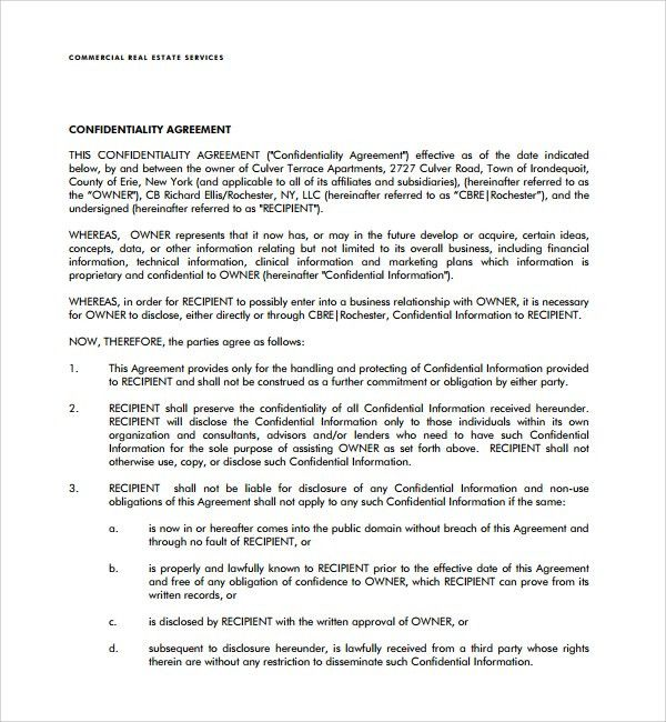 Sample Real Estate Confidentiality Agreement - 9+ Free Documents ...