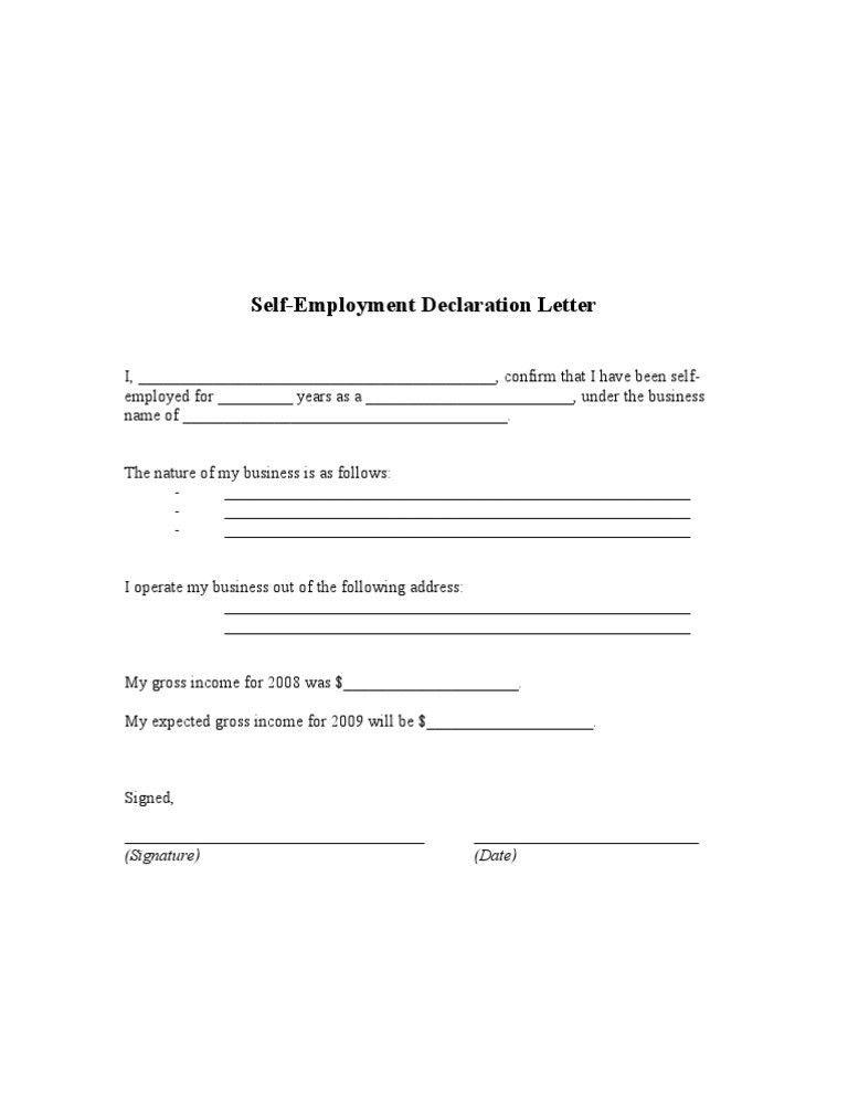 Self Employment Declaration