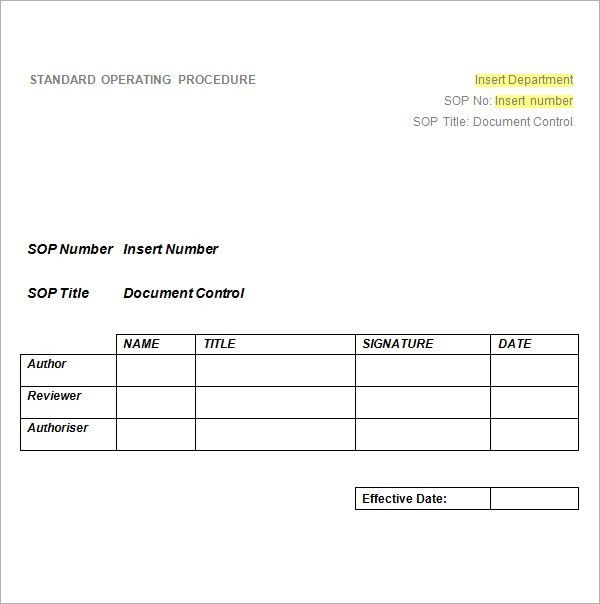 Standard Operating Procedure Template - Excel PDF Formats
