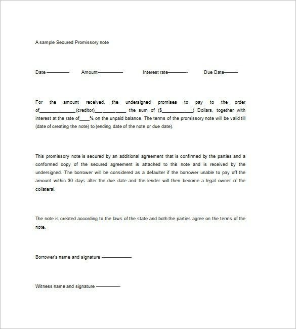 Secured Promissory Note Template – 8+ Free Word, Excel, PDF Format ...