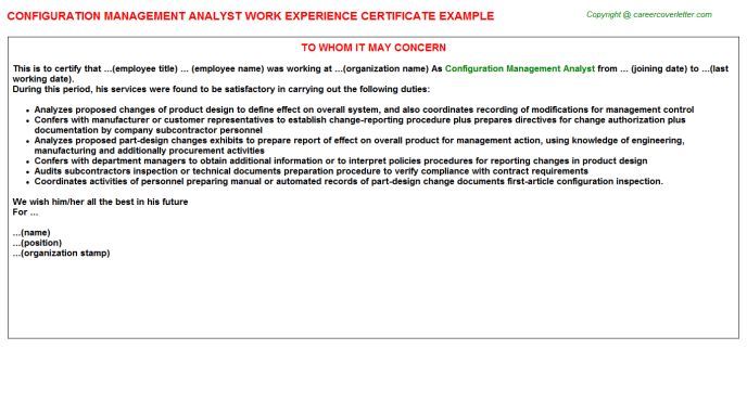 Security Information Event Management Analyst Work Experience Letters